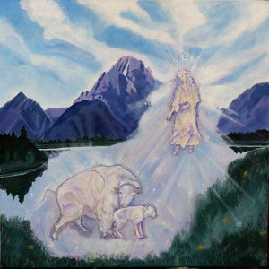 White Calf Painting by Gudrun Miller